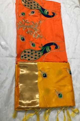 Yellow Mayura Pattern Jari Sanna Patta Silk Saree With Banglory Silk Blouse - DVD1034B