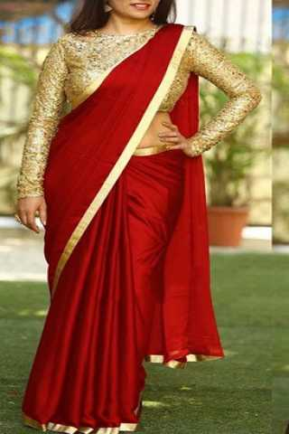 Red Colored Sanna Silk Golden Border Saree With Paper Matty Silk Embroidered Blouse - DVD1067A