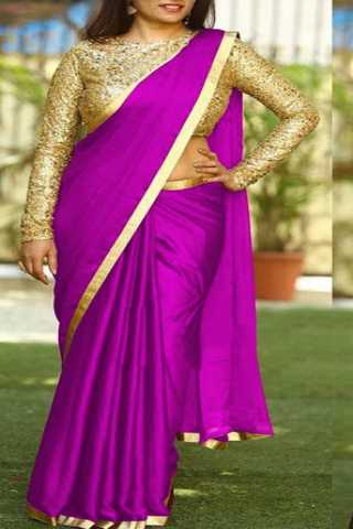 Rani Pink Colored Sanna Silk Golden Border Saree With Paper Matty Silk Embroidered Blouse - DVD1067I