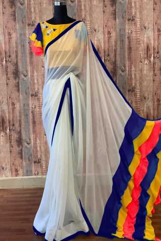 Colorful Fril Pallu White Georgette Saree With Designer Saree  - DVD1102A