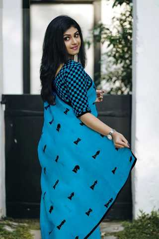 Satarang Pattern Sky - Blue Colored Chanderi Silk Saree With Blouse - DVD1104F