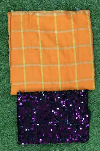 Checks Panetar Sanna Silk Orange - Purple Colored Saree With Sequance Blouse - DVD1106J