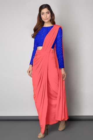 Embroidered Blouse With Dhoti style Peach Sanna Silk Saree - DVD1117G