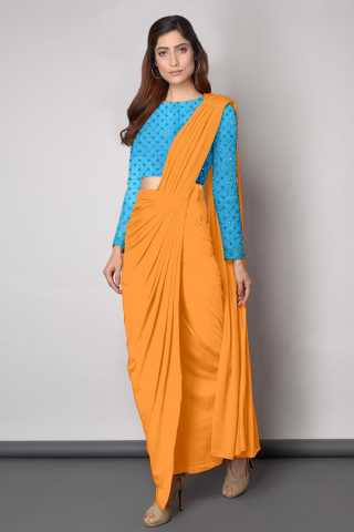 Embroidered Blouse With Dhoti style Yellow Sanna Silk Saree - DVD1117H