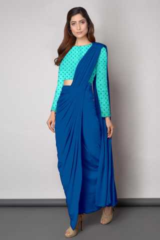 Embroidered Blouse With Dhoti style Blue Sanna Silk Saree - DVD1117I