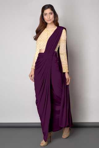 Embroidered Blouse With Dhoti style Purple Sanna Silk Saree - DVD1117K