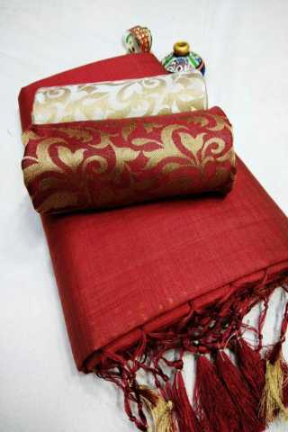 Red Colored Chanderi Silk With Tassel Border Saree With Jacquard Double Blouse - DVD1145E