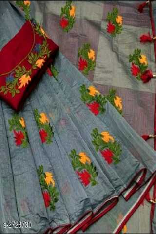 Grey Colored Chanderi Silk With Embroidery Work Saree With Blouse Piece