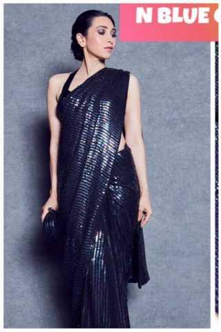 Navy Blue Sanna Silk With Rainbow Sequence Embroidery Saree With Blouse