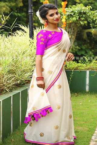 White and Pink Colored Heavy Chanderi Silk Embroidered Saree With Tassels - DVDDN1243G