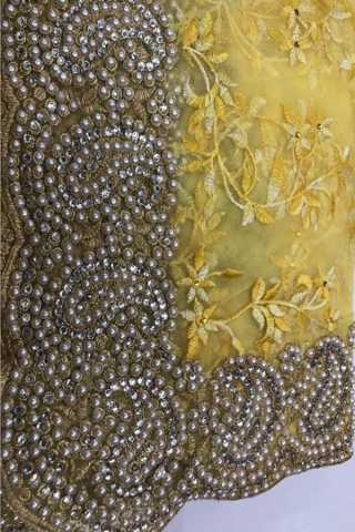 Yellow Shade Colored Net With Embroidery Heavy Multi Work Pearl Diamond Stone Saree
