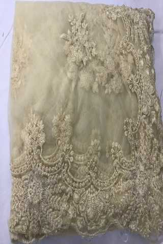 Heavy Diamond Beige Colored Georgette Saree With Blouse - DVDHD2C