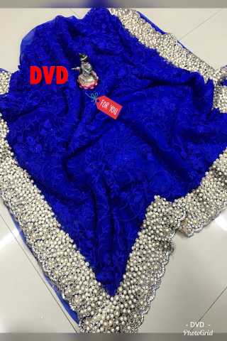 Heavy Diamond Blue Colored Georgette Saree With Blouse - DVDHD3H
