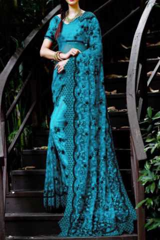 Blue Net With Embroidery Design With Stone Diamond Design Saree