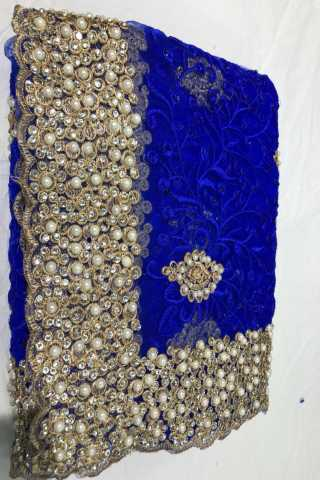 Heavy Diamond Blue Colored Georgette Saree With Blouse - DVDHD4E