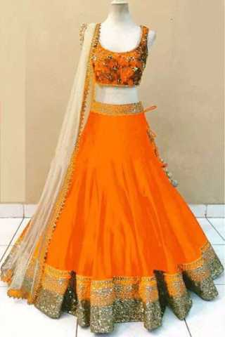 Orange Colored Satin Banglory Silk With Embroidery Work Lehenga Choli - DVDL1022H