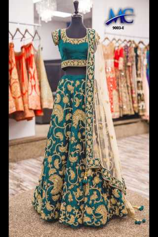 Turquoise Colored Velvet Silk Beautiful Fabric Embroidery Work Lehenga Choli With Dupatta - DVDLMC9003E