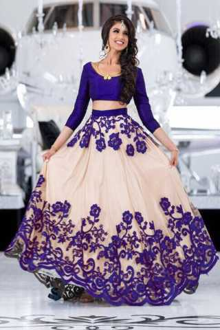 Purple Net Fabric Heavy Embroidery Work Lehenga Choli - DVDLMC9022B