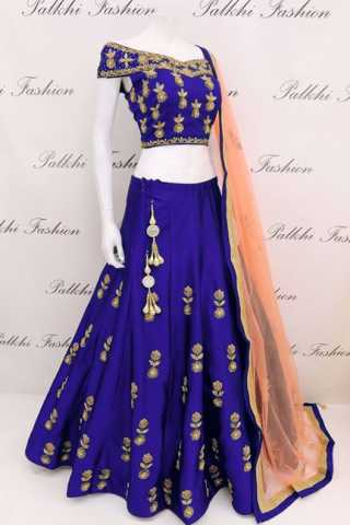 Tapeta Silk Blue Codding Embroidered Lehenga Choli With Matching Blouse - DVDLMC9040D