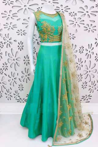 Banglory Silk Turquoise Green Embroidered Work Lehenga Choli With Matching Blouse - DVDLMC9042A