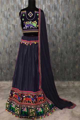 Black Satin Banglory Silk With Chain Work Lehenga Choli -  DVDLMC9049D