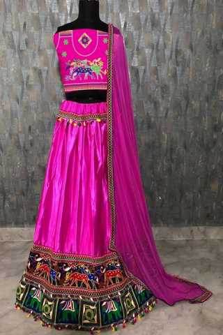 Magenta Satin Banglory Silk With Chain Work Lehenga Choli -  DVDLMC9049F