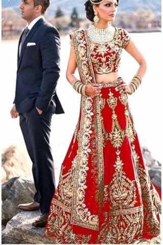 "Red Colored Tapeta Silk With Embroidered Work Beautiful Lehenga Choli With Dupatta - DVDLMC9059B 30"""