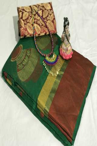 Mataka Green Colored Silk Cotton Saree With Blouse - DVDN25C