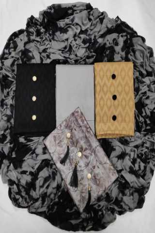 Black 3 Tops Fabric Jaam Butti Jecard and cotton jecard fabric Dress Material