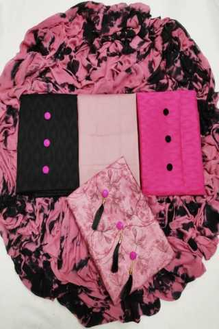 Pink 3 Tops Fabric Jaam Butti Jecard and cotton jecard fabric Dress Material