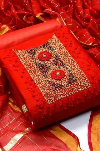 Red Heavy Chanderi Modal With Excellent Khatli Work Dress Material