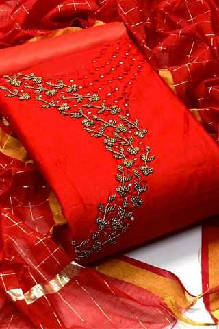 Flattering Red Heavy Chanderi Modal With Excellent Khatli Work Dress Material
