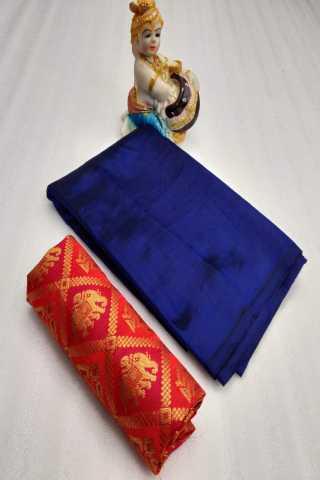 Blue Colored Sanna Silk Saree With Pink Jacqurd Blouse - DVDSJC