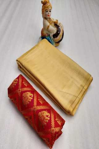 Beige Colored Sanna Silk Saree With Red Jacqurd Blouse - DVDSJD