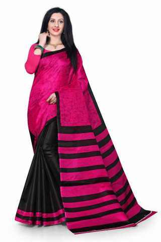 Pink-Black Two Tone Khadi Silk Saree With Matching Blouse - DVDSK3A