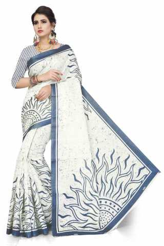 White Colored Khadi Silk Beautiful Saree With Blue Border- DVDSK5D