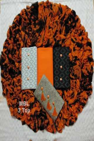 Orange 3 Fabric 1 Cotton and 2 Lakda Jacquard Dress Material - DVD1022d