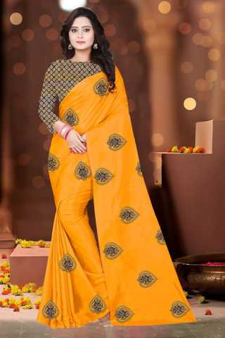 Trishul Pattern Yellow Vichitra Embroidered Silk Saree With Jacquard Blouse - DVDVCTRA7B
