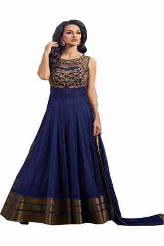 Charming Blue Colored Net Fabric Designer Gown For Women