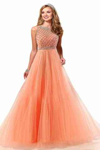 Ultimate Orange Colored Evening Soft Net Gown