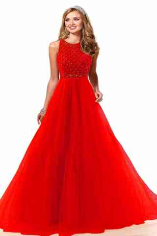 Pleasurable Red Colored Evening Soft Net Gown