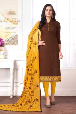 Brown Colored Cotton Butti Designer Embroidered Dress Material