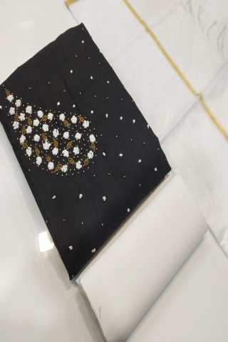Black Semi Modal Fabric Top With Heavy Santoon Bottom Dress Material