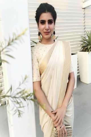 bb835a3238 Demanding Off White Colored Festive Wear Aura Linen Weaving Saree - GW13