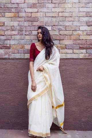 Gorgeous White - Maroon Colored Festive Wear Aura Linen Weaving Saree - GW11