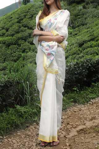 Eye-Catching White Colored Khadi Silk Designer Saree For Women