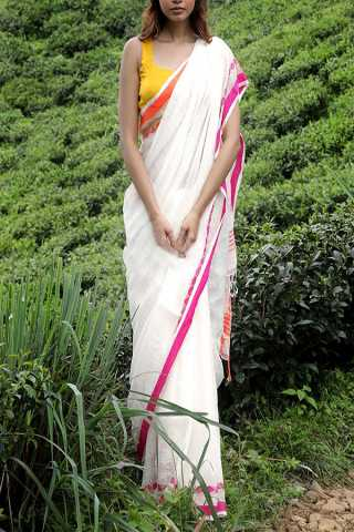 Snazzy White - Pink Colored Khadi Silk Designer Saree For Women