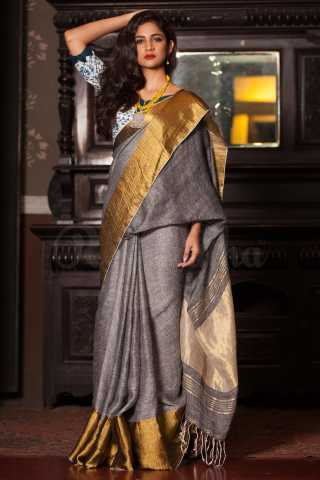 Engrossing Grey Colored Golden Border Khadi Silk Saree With Blouse For Women - KA00135