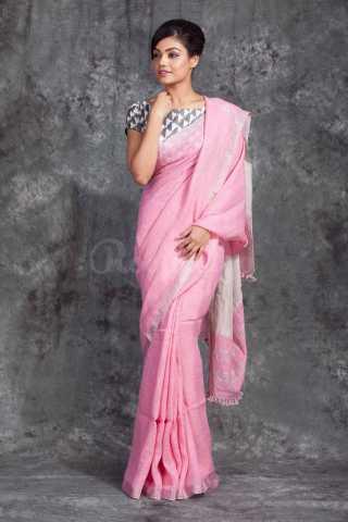 Radiant Pink ColoredKhadi Silk Saree With Blouse For Women - KA00140