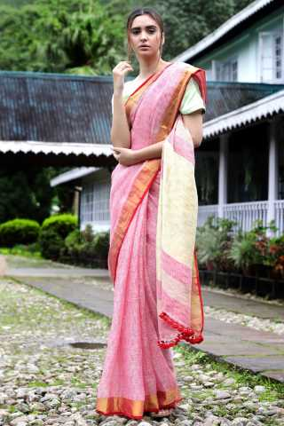 Trendy Pink ColoredSaree Silk Saree With Blouse For Women - KA00144